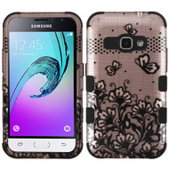 Military Grade TUFF Image Hybrid Armor Case for Samsung Galaxy Amp 2 / Express 3 / J1 (2016) - Lace Flowers Rose Gold