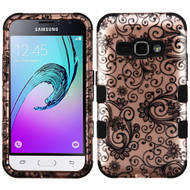 Military Grade TUFF Image Hybrid Armor Case for Samsung Galaxy Amp 2 / Express 3 / J1 (2016) - Leaf Clover Rose Gold