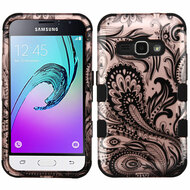 Military Grade TUFF Hybrid Armor Case for Samsung Galaxy Amp 2 / Express 3 / J1 (2016) - Phoenix Flower Rose Gold