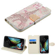 Art Design Portfolio Leather Wallet for LG K10 / Premier LTE - Eiffel Tower