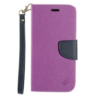 Leather Wallet Shell Case for LG K10 / Premier LTE - Purple
