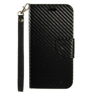 *SALE* Leather Wallet Shell Case for LG K10 / Premier LTE - Carbon Fiber