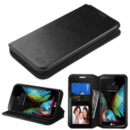 Book-Style Leather Folio Case for LG K10 / Premier LTE - Black