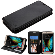 Book-Style Leather Folio Case for LG K10 / Premier LTE - Carbon Fiber