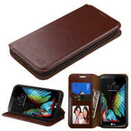 Book-Style Leather Folio Case for LG K10 / Premier LTE - Brown