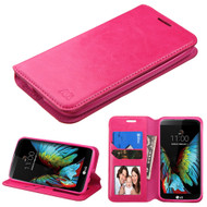 Book-Style Leather Folio Case for LG K10 / Premier LTE - Hot Pink