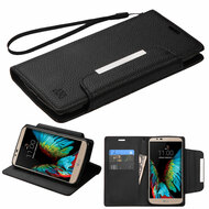 Designer Leather Wallet Shell Case for LG K10 / Premier LTE - Black