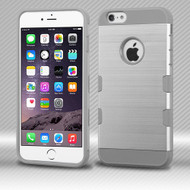 Military Grade TUFF Trooper Dual Layer Hybrid Case for iPhone 6 Plus / 6S Plus - Brushed Silver Grey