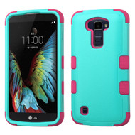 Military Grade Certified TUFF Hybrid Armor Case for LG K10 / Premier LTE - Teal Hot Pink
