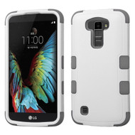 Military Grade Certified TUFF Hybrid Armor Case for LG K10 / Premier LTE - White Grey