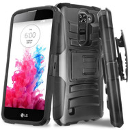 Advanced Armor Hybrid Kickstand Case with Holster for LG K10 / Premier LTE - Black