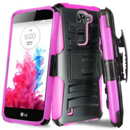 *Sale* Advanced Armor Hybrid Kickstand Case with Holster for LG K10 / Premier LTE - Black Hot Pink