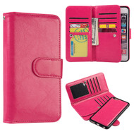 Luxury Timberland Series Double Flop Leather Wallet with Removable Magnet Case for iPhone 6 Plus / 6S Plus - Hot Pink