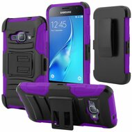 Advanced Armor Hybrid Kickstand Case with Holster for Samsung Galaxy Amp 2 / Express 3 / J1 (2016) - Black Purple
