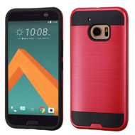 Brushed Hybrid Armor Case for HTC 10 - Red