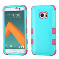 Military Grade TUFF Hybrid Armor Case for HTC 10 - Teal Hot Pink