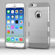 Military Grade Certified TUFF Trooper Dual Layer Hybrid Case for iPhone 6 / 6S - Brushed Silver Grey