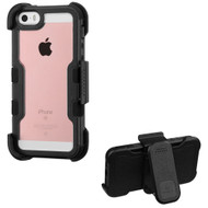 TUFF Vivid Hybrid Armor Case with Holster for iPhone SE / 5S / 5 - Black