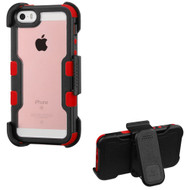 TUFF Vivid Hybrid Armor Case with Holster for iPhone SE / 5S / 5 - Black Red