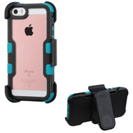 TUFF Vivid Hybrid Armor Case with Holster for iPhone SE / 5S / 5 - Black Teal