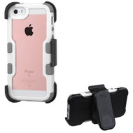 TUFF Vivid Hybrid Armor Case with Holster for iPhone SE / 5S / 5 - White Grey