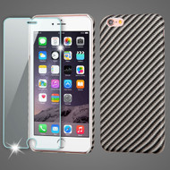 Mod Leather Graphic Case and Tempered Glass Screen Protector for iPhone 6 Plus / 6S Plus - Carbon Fiber