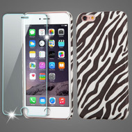 Mod Leather Graphic Case and Tempered Glass Screen Protector for iPhone 6 Plus / 6S Plus - Zebra