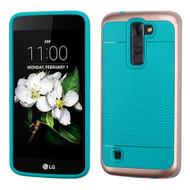 *Sale* Bumper Frame Hybrid Case for LG K7 / K8 / Escape 3 / Treasure LTE / Tribute 5 - Rose Gold Teal