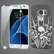 Mod Leather Graphic Case and Tempered Glass Screen Protector for Samsung Galaxy S7 - Sword and Skull