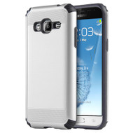 *SALE* Silkee Anti Shock Hybrid Armor Case for Samsung Galaxy Amp Prime / Express Prime / J3 / Sol - Silver
