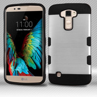 Military Grade Certified TUFF Trooper Dual Layer Hybrid Armor Case for LG K10 / Premier LTE - Brushed Silver