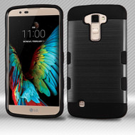 Military Grade Certified TUFF Trooper Dual Layer Hybrid Armor Case for LG K10 / Premier LTE - Brushed Black