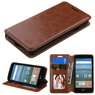 Book-Style Leather Folio Case for LG K4 / Optimus Zone 3 / Spree - Brown