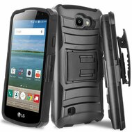 *SALE* Advanced Armor Hybrid Kickstand Case with Holster for LG K4 / Optimus Zone 3 / Spree - Black