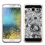 *Sale* Floral Rubberized Crystal Case for Samsung Galaxy E5 - Black