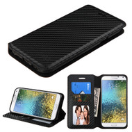 *Sale* Book-Style Leather Folio Case for Samsung Galaxy E5 - Carbon Fiber
