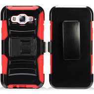 *Sale* Advanced Armor Hybrid Kickstand Case with Holster for Samsung Galaxy E5 - Black Red