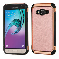 Electroplated Tough Hybrid Case with Leather Backing for Samsung Galaxy Amp Prime / Express Prime / J3 / Sol - Rose Gold