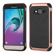 Electroplated Tough Hybrid Case with Leather Backing for Samsung Galaxy Amp Prime / Express Prime / J3 / Sol - Black