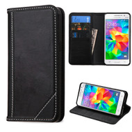 Mybat Genuine Leather Wallet Case for Samsung Galaxy Grand Prime - Black
