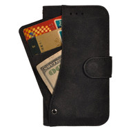 Premium Leather Wallet Case with Slide Out Card Holder for LG K4 / Optimus Zone 3 / Spree - Black