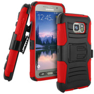 Advanced Armor Hybrid Kickstand Case with Holster for Samsung Galaxy S7 Active - Black Red
