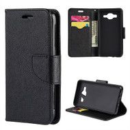 Leather Wallet Shell Case for Samsung Galaxy On5 - Black