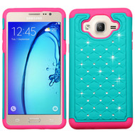 TotalDefense Diamond Hybrid Case for Samsung Galaxy On5 - Teal Hot Pink