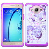 TotalDefense Diamond Hybrid Case for Samsung Galaxy On5 - Purple Hibiscus Flower Romance