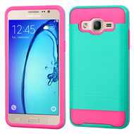 Brushed Hybrid Armor Case for Samsung Galaxy On5 - Teal Hot Pink