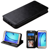 Book-Style Leather Folio Case for Samsung Galaxy On5 - Black