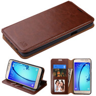 Book-Style Leather Folio Case for Samsung Galaxy On5 - Brown