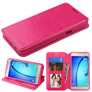 Book-Style Leather Folio Case for Samsung Galaxy On5 - Hot Pink