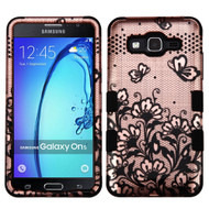 Military Grade Certified TUFF Image Hybrid Armor Case for Samsung Galaxy On5 - Lace Flowers Rose Gold